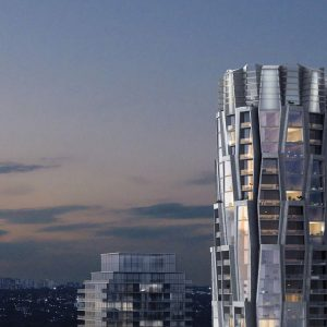 View of One Delisle Condos during dusk