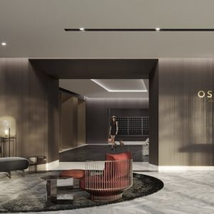 Lobby view of The Oscar Residences with Concierge Desk and Seating