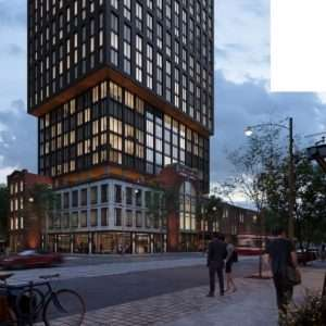 Early Rendering showing the Northeast view of Queen Central Condos