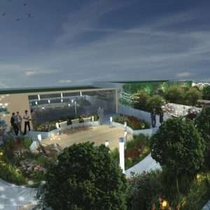 View of the rooftop terrace at WestLine Condos