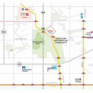 Map of the transit line for WestLine Condos